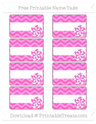 Free Rose Pink Chevron Cheer Pom Pom Tags