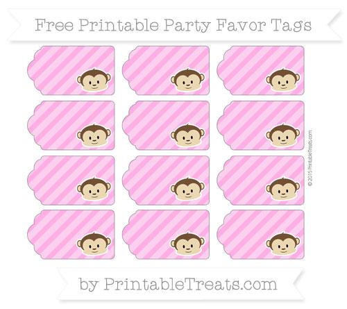 Free Rose Pink Diagonal Striped Boy Monkey Party Favor Tags