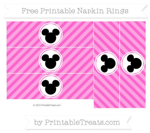Free Rose Pink Diagonal Striped Mickey Mouse Napkin Rings