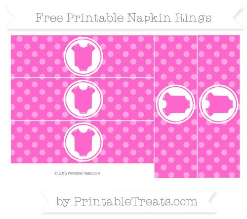 Free Rose Pink Dotted Pattern Baby Onesie Napkin Rings