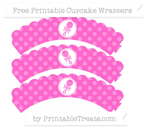 Free Rose Pink Dotted Pattern Baby Rattle Scalloped Cupcake Wrappers