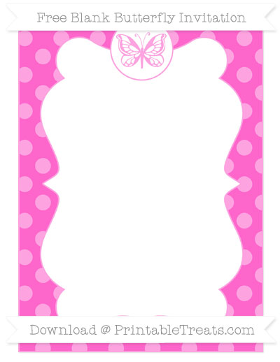 Free Rose Pink Dotted Pattern Blank Butterfly Invitation