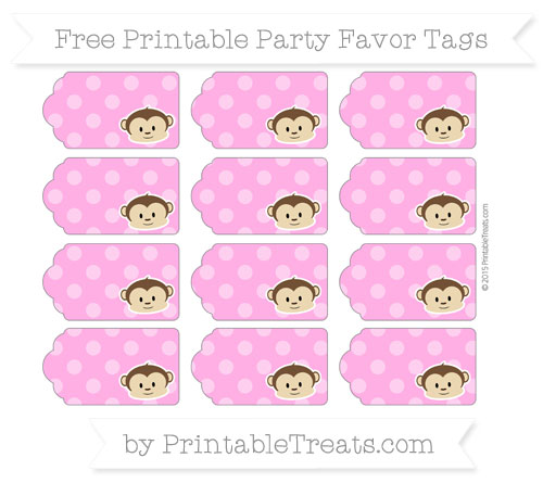 Free Rose Pink Dotted Pattern Boy Monkey Party Favor Tags