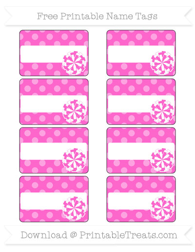 Free Rose Pink Dotted Pattern Cheer Pom Pom Tags