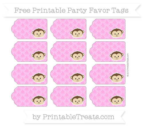 Free Rose Pink Fish Scale Pattern Boy Monkey Party Favor Tags