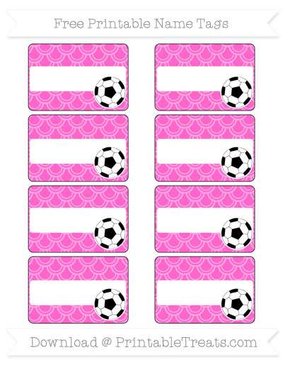 Free Rose Pink Fish Scale Pattern Soccer Name Tags