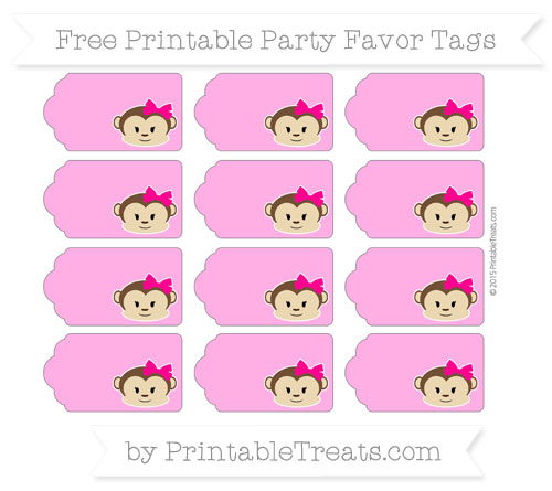 Free Rose Pink Girl Monkey Party Favor Tags