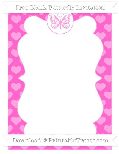 Free Rose Pink Heart Pattern Blank Butterfly Invitation