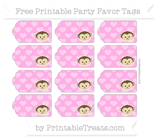 Free Rose Pink Heart Pattern Boy Monkey Party Favor Tags