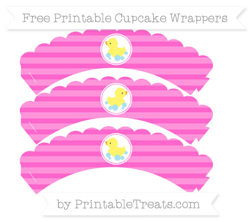 Free Rose Pink Horizontal Striped Baby Duck Scalloped Cupcake Wrappers