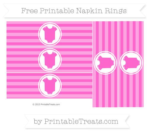 Free Rose Pink Horizontal Striped Baby Onesie Napkin Rings
