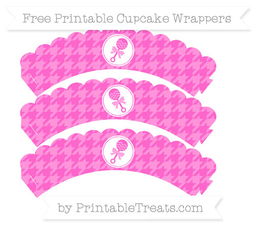 Free Rose Pink Houndstooth Pattern Baby Rattle Scalloped Cupcake Wrappers