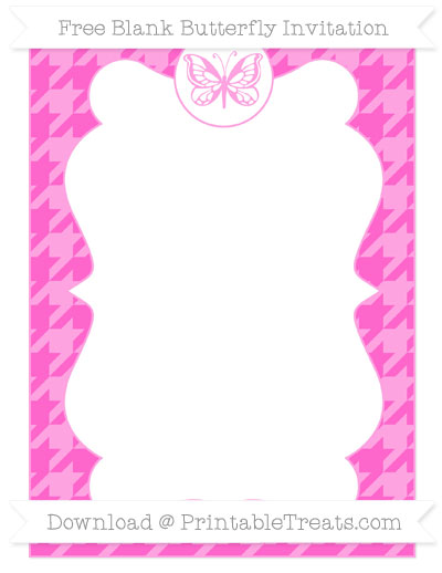 Free Rose Pink Houndstooth Pattern Blank Butterfly Invitation