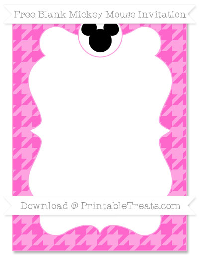 Free Rose Pink Houndstooth Pattern Blank Mickey Mouse Invitation