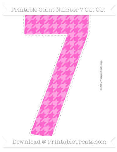 Free Rose Pink Houndstooth Pattern Giant Number 7 Cut Out