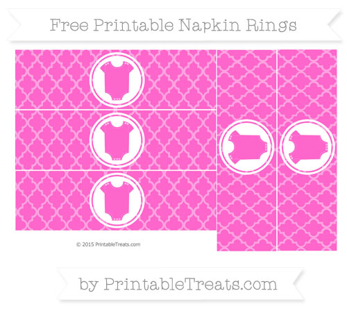 Free Rose Pink Moroccan Tile Baby Onesie Napkin Rings