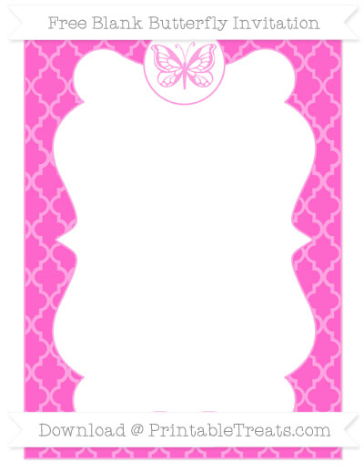 Free Rose Pink Moroccan Tile Blank Butterfly Invitation