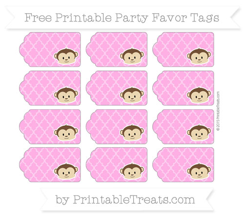 Free Rose Pink Moroccan Tile Boy Monkey Party Favor Tags