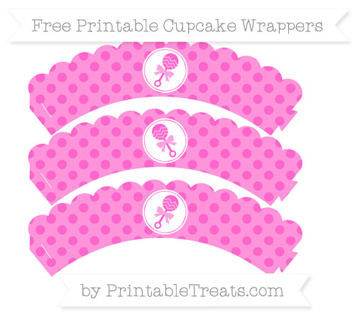 Free Rose Pink Polka Dot Baby Rattle Scalloped Cupcake Wrappers
