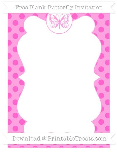 Free Rose Pink Polka Dot Blank Butterfly Invitation