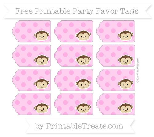 Free Rose Pink Polka Dot Boy Monkey Party Favor Tags