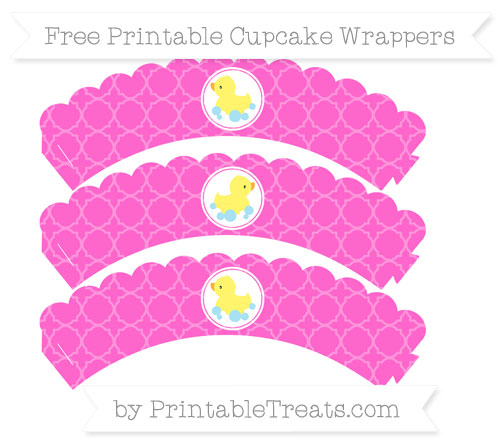 Free Rose Pink Quatrefoil Pattern Baby Duck Scalloped Cupcake Wrappers