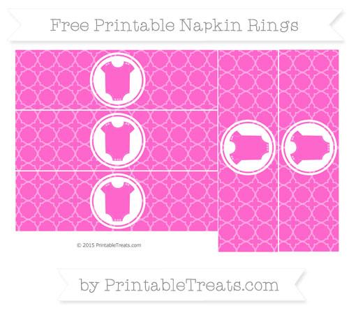 Free Rose Pink Quatrefoil Pattern Baby Onesie Napkin Rings