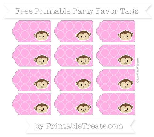 Free Rose Pink Quatrefoil Pattern Boy Monkey Party Favor Tags