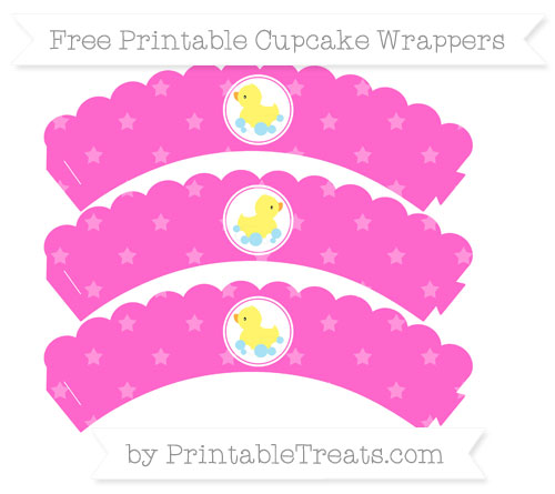 Free Rose Pink Star Pattern Baby Duck Scalloped Cupcake Wrappers