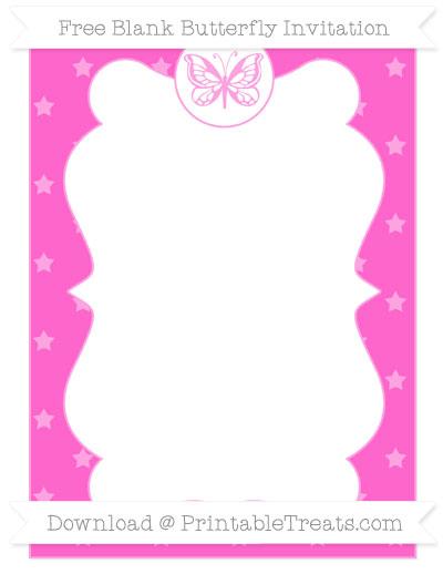 Free Rose Pink Star Pattern Blank Butterfly Invitation
