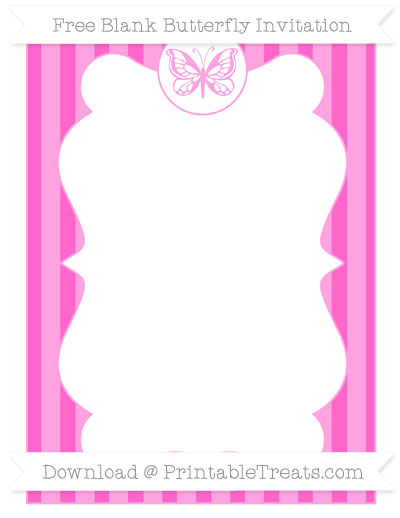Free Rose Pink Striped Blank Butterfly Invitation