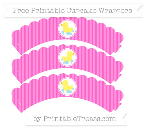Free Rose Pink Thin Striped Pattern Baby Duck Scalloped Cupcake Wrappers