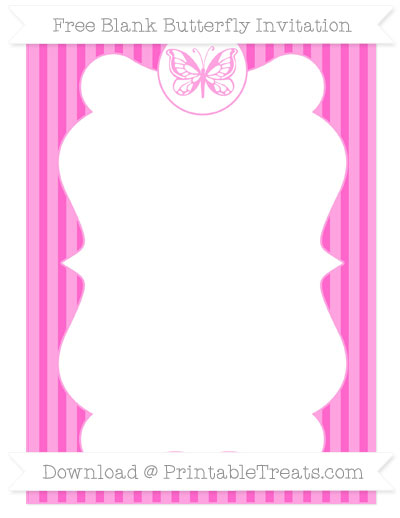 Free Rose Pink Thin Striped Pattern Blank Butterfly Invitation