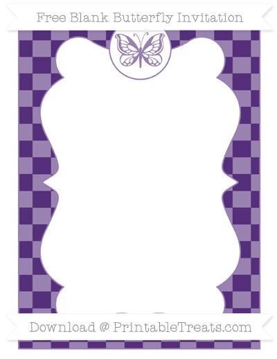 Free Royal Purple Checker Pattern Blank Butterfly Invitation