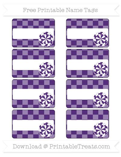 Free Royal Purple Checker Pattern Cheer Pom Pom Tags