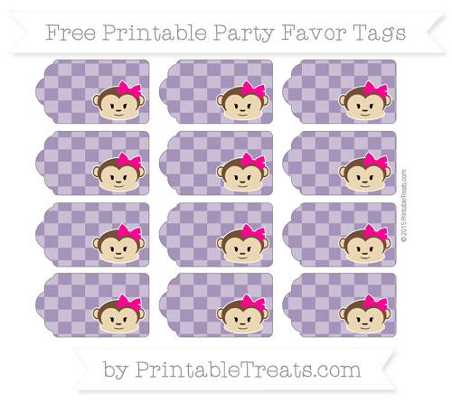 Free Royal Purple Checker Pattern Girl Monkey Party Favor Tags