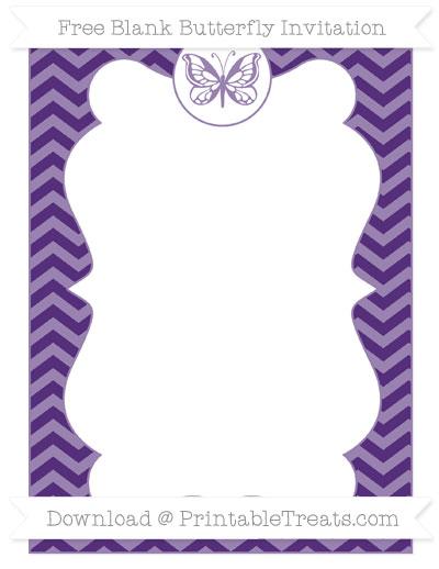 Free Royal Purple Chevron Blank Butterfly Invitation