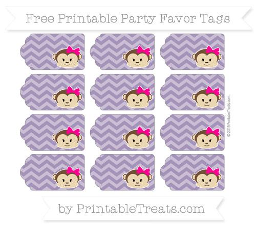 Free Royal Purple Chevron Girl Monkey Party Favor Tags