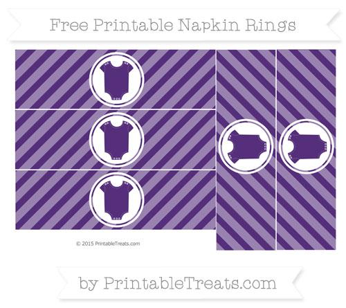 Free Royal Purple Diagonal Striped Baby Onesie Napkin Rings