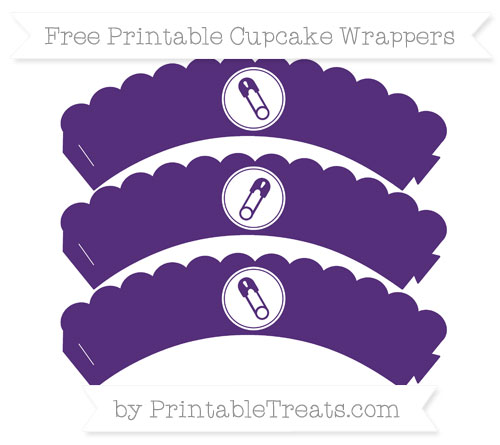 Free Royal Purple Diaper Pin Scalloped Cupcake Wrappers