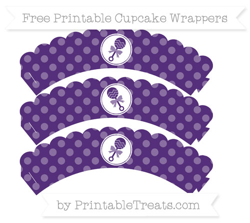 Free Royal Purple Dotted Pattern Baby Rattle Scalloped Cupcake Wrappers