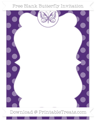 Free Royal Purple Dotted Pattern Blank Butterfly Invitation