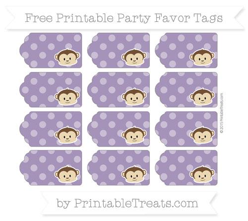 Free Royal Purple Dotted Pattern Boy Monkey Party Favor Tags