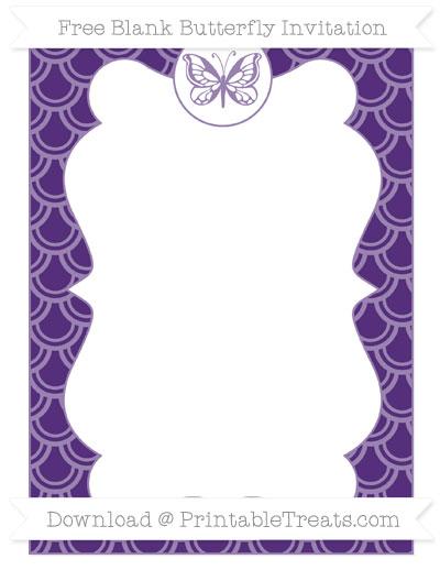 Free Royal Purple Fish Scale Pattern Blank Butterfly Invitation