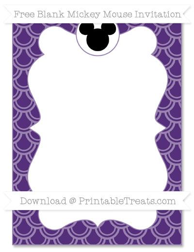 Free Royal Purple Fish Scale Pattern Blank Mickey Mouse Invitation