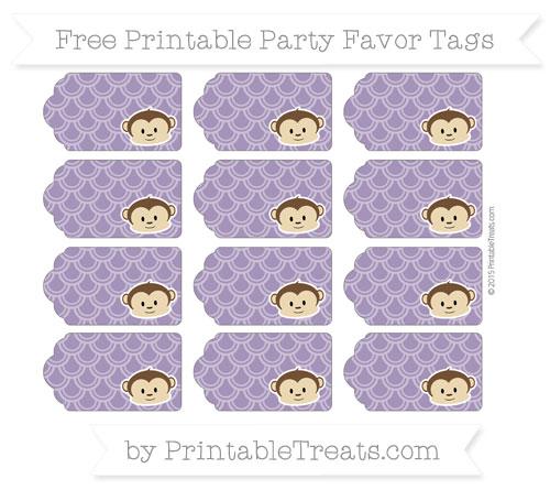 Free Royal Purple Fish Scale Pattern Boy Monkey Party Favor Tags