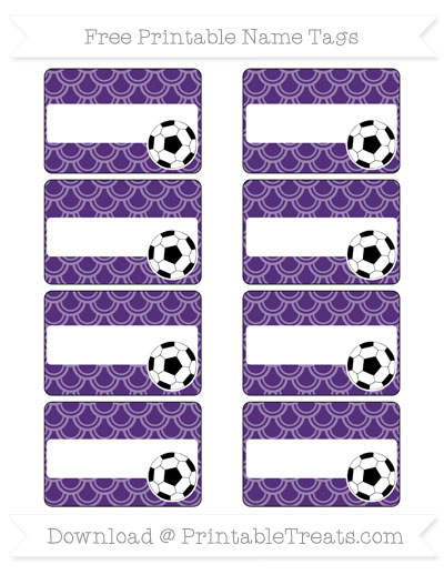 Free Royal Purple Fish Scale Pattern Soccer Name Tags