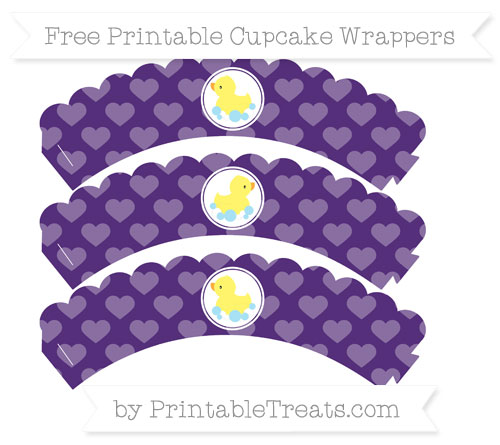 Free Royal Purple Heart Pattern Baby Duck Scalloped Cupcake Wrappers