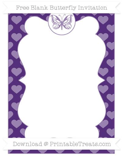 Free Royal Purple Heart Pattern Blank Butterfly Invitation