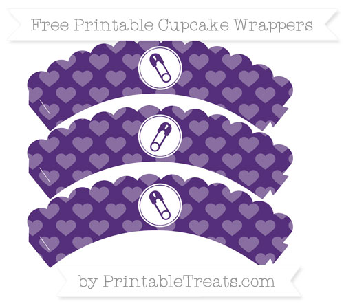 Free Royal Purple Heart Pattern Diaper Pin Scalloped Cupcake Wrappers